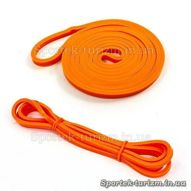 Гума для підтягувань (силова стрічка) помаранчева, розміром 2000x6,4x4,5мм, жорсткість 1-6 кг