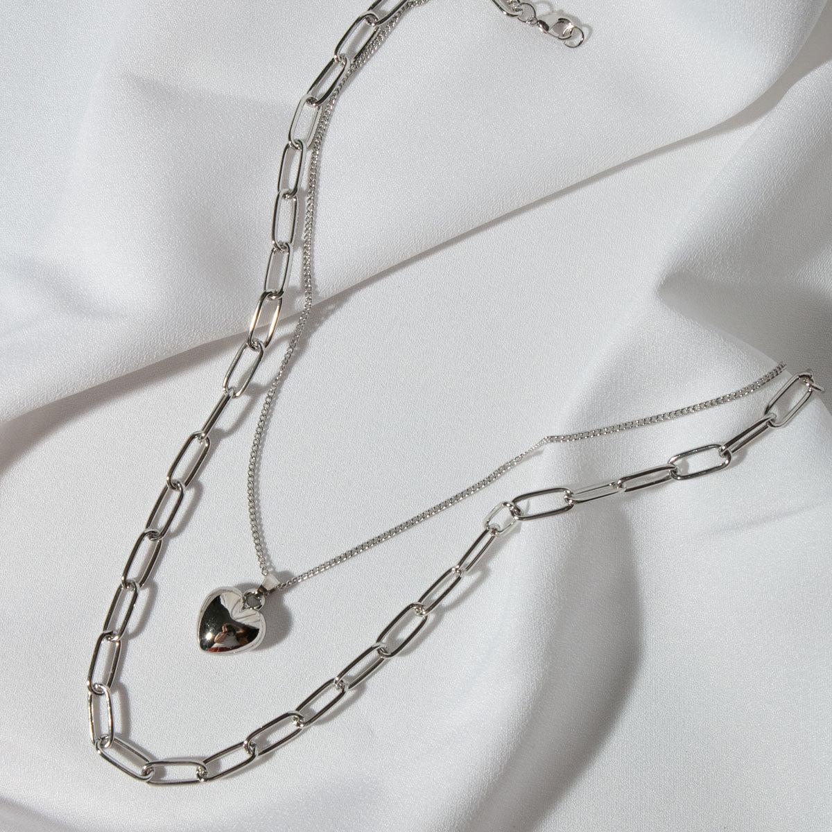 Колье двухрядное с цепью и кулоном-сердечком (серебристый)