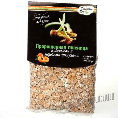 Пророщенная пшеница с абрикосом и медовыми гранулами 'Здоровая еда', 120г
