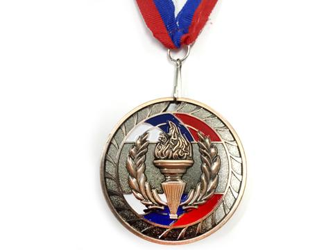 Медаль спортивная с лентой за 3 место. Диаметр 6,5 см: 1802-3
