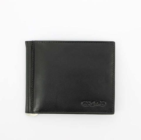 Портмоне S.Quire с клипом для денег, натуральная воловья кожа, черный, гладкая, 11x9 см
