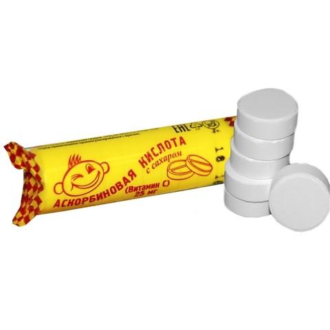 Аскорбиновая кислота с сахаром 25 мг № 10 1кор*12бл*20шт
