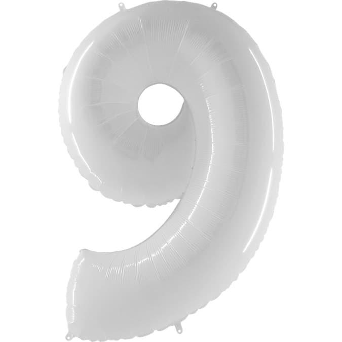 Фольгированная цифра 9, белый