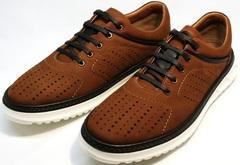 Прогулочные кроссовки коричневые мужские Vitto Men Shoes 1830 Brown White