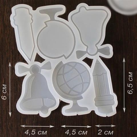 Силиконовая форма для леденцов ПОГРЕМУШКА ШКОЛЬНЫЙ НАБОР прозрачный силикон (60х45мм)
