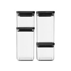 Набор прямоугольных контейнеров 4 шт, Темно-серый