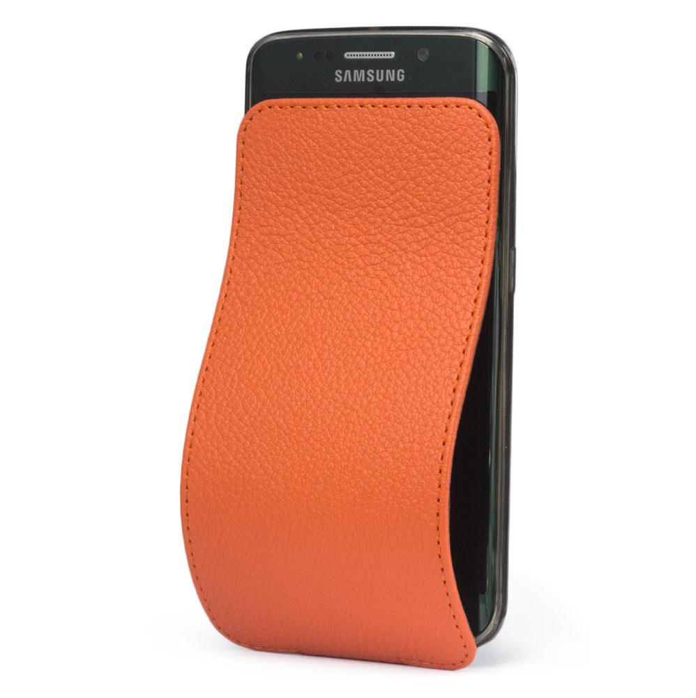 Чехол для Samsung Galaxy S6 edge из натуральной кожи теленка, оранжевого цвета