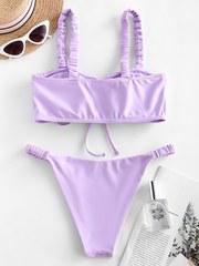 купальник раздельны бикини лиловый лавандовый с пышным топом рюш 2