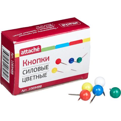Булавки для пробковых досок Attache силовые, (шарики) цветные 50шт/карт.уп