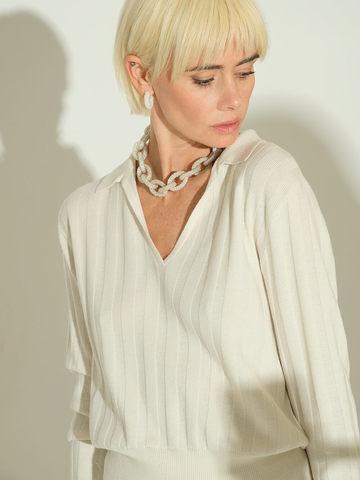 Женский джемпер молочного цвета из шерсти и шелка - фото 2