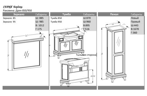 Мебель для ванной Opadiris Борджи 85  87х89,5х51,6 см. схема