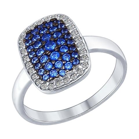 94012186 - Кольцо из серебра с синими фианитами