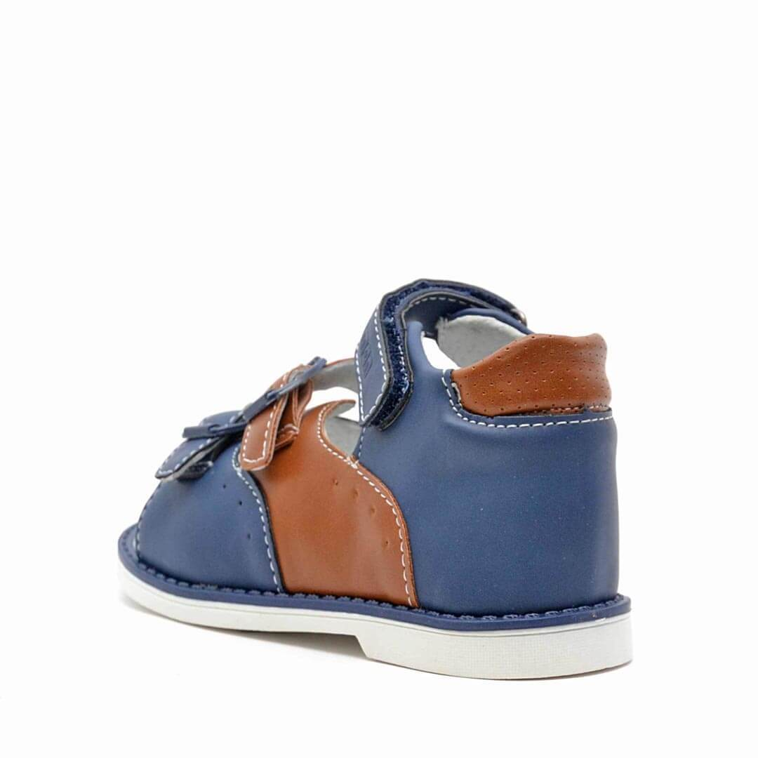 Кожаные анатомические сандалики Nordman Boom синие с коричневым