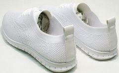 Красивые белые кроссовки женские текстиль Small Swan NB-821 All White.