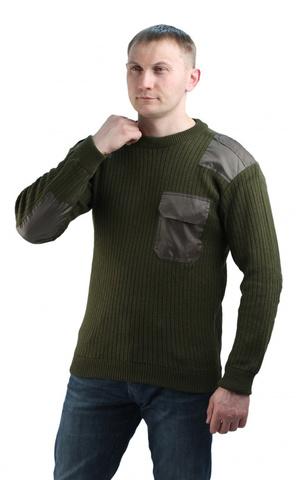 Купить форменный теплый свитер с накладками олива - Магазин тельняшек.ру 8-800-700-93-18Джемпер п/ш форменный оливковый с накладками в Магазине тельняшек