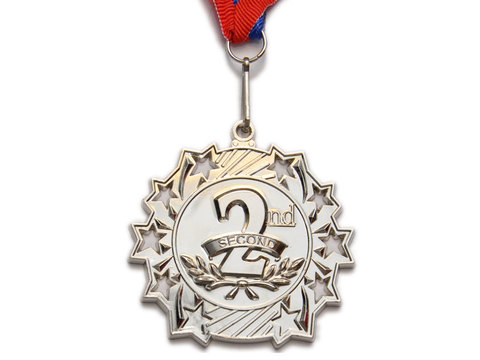 Медаль спортивная с лентой за 2 место. Диаметр 6 см: 1803-2