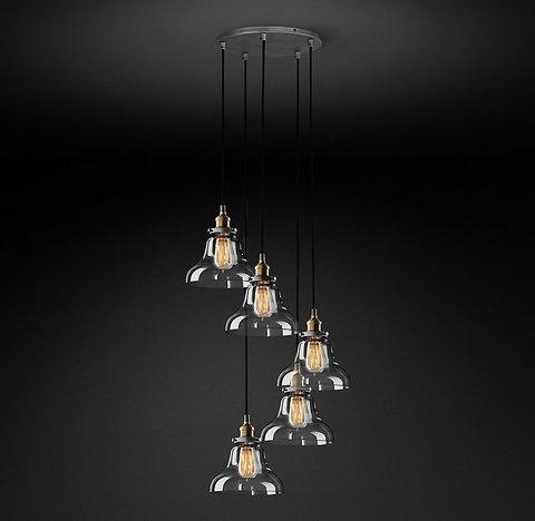 Подвесной светильник копия 20th C. Factory Filament Clear Glass Boulangerie Round Pendant by Restoration Hardware