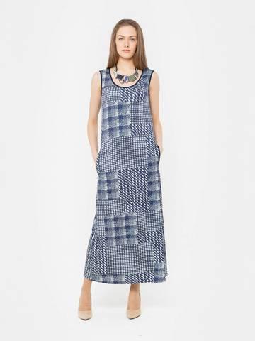 Фото длинное платье-майка с контрастным бело-синим принтом и карманами - Платье З293-652 (1)