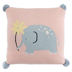 Подушка декоративная с помпонами 35х35 Tkano Tiny world Слоник Lou TK20-KIDS-CU0001