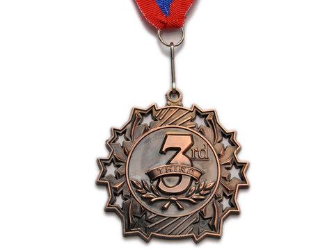 Медаль спортивная с лентой за 3 место. Диаметр 6 см: 1803-3