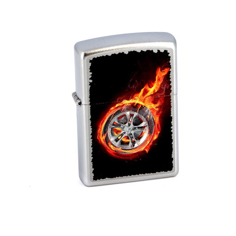Зажигалка Zippo Tire On Fire, с покрытием Satin Chrome, латунь/сталь, серебристая, матовая,123