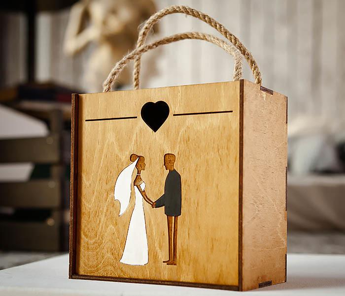 BOX238-2 Деревянная коробка для подарка на свадьбу (17*17*10 см) фото 02