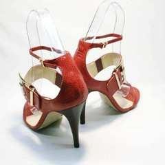 Босоножки на шпильке сандалии женские кожаные Via Uno1103-6605 Red.