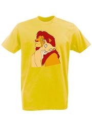 Футболка с принтом мультфильма Король лев (The Lion King, Симба, Нала) желтая 0016