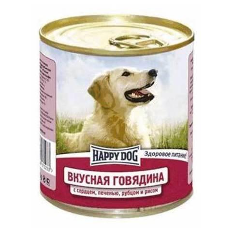 HAPPY DOG Консервы для собак с говядиной, сердцем, печенью, рубцом и рисом 9000 г. (750г.*12)