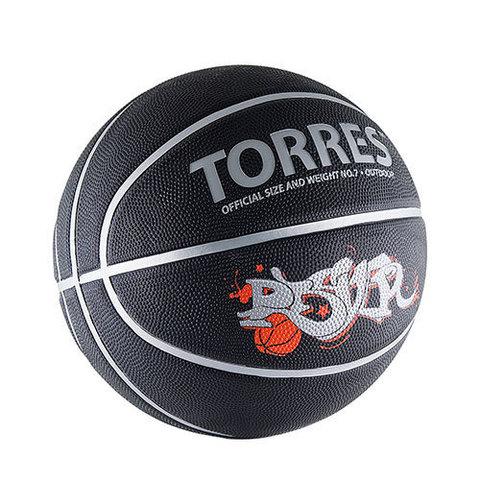 Мяч б/б TORRES Player р.7, резина, черно-серебристный-красный B00057