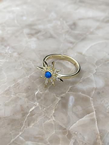Кольцо Сириус из позолоченного серебра с синей эмалью