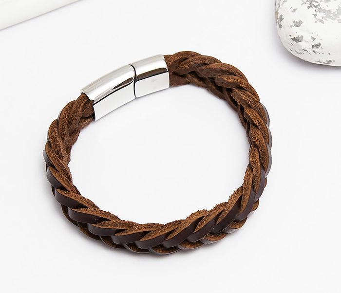 BM451-2 Мужской браслет из натуральной кожи коричневого цвета (19 см) фото 02