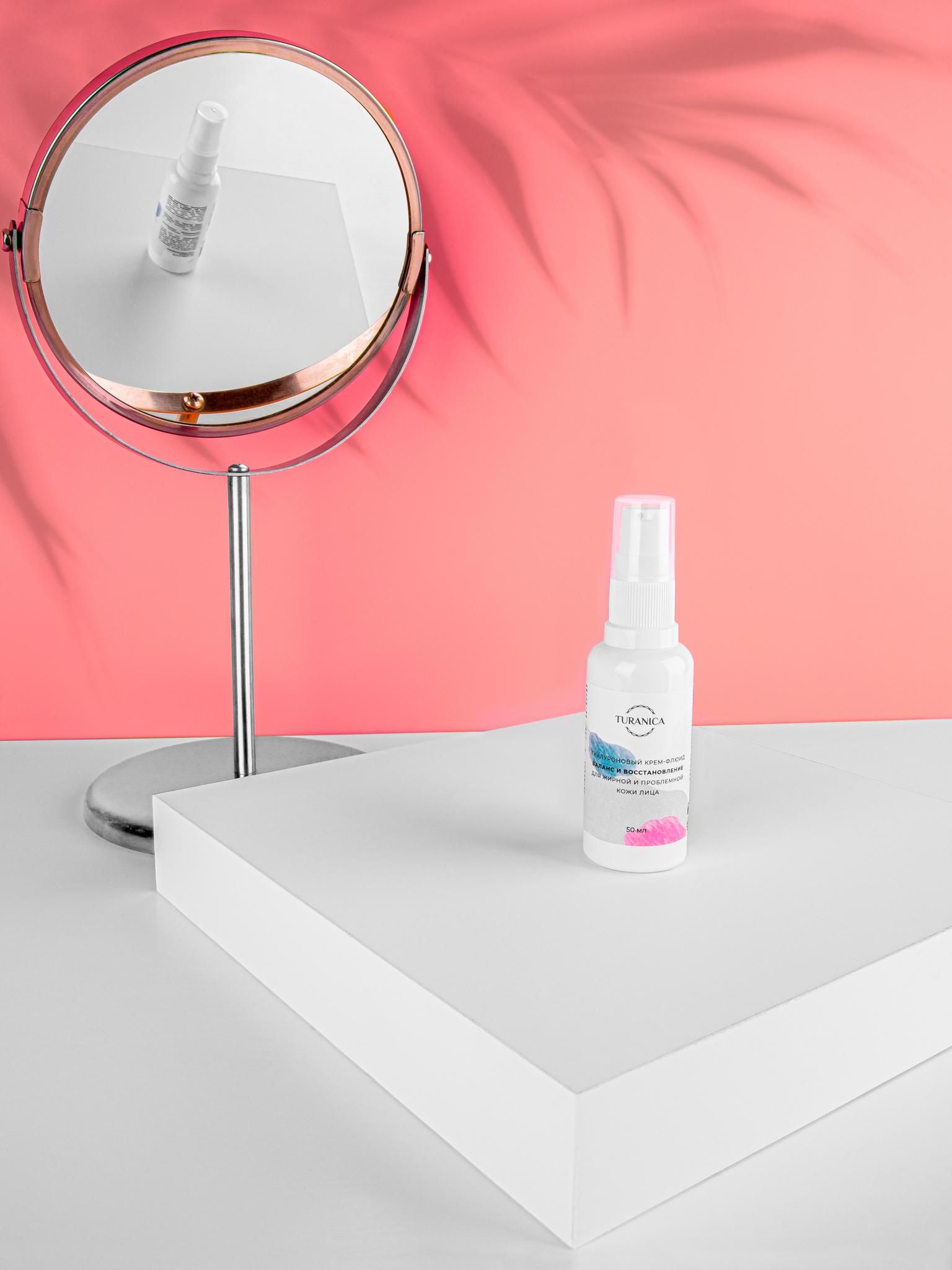 Гиалуроновый крем-флюид Turanica Баланс и восстановление для жирной и проблемной кожи лица