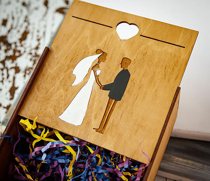BOX238-2 Деревянная коробка для подарка на свадьбу (17*17*10 см) фото 06