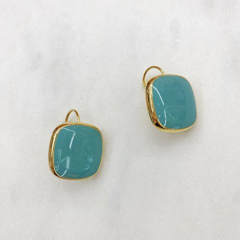 Серьги Квадраты на петлях, эмаль (голубой)
