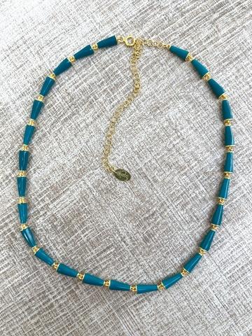 Колье Бонго бирюзовое, позолоченное серебро