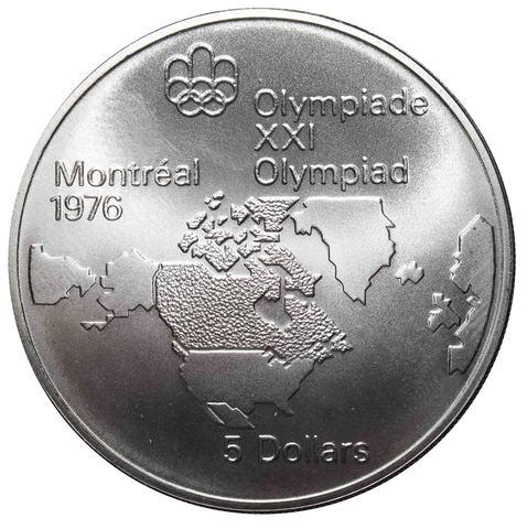 5 долларов 1973. Канада (XXI летние Олимпийские Игры, Монреаль 1976 - Карта Канады). AU. Серебро