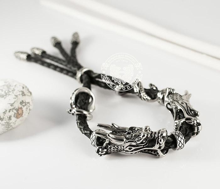 BM366 Необычный мужской браслет «Драконы» из стали и кожи
