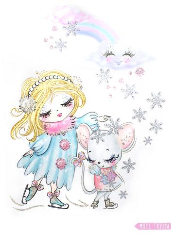 Купон(панель)девочка и мышонок на коньках,плюш,90х110см