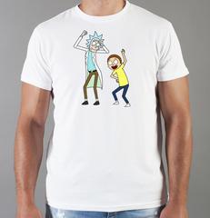 Футболка с принтом мультфильма Рик и Морти (Rick and Morty) белая 006