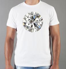 Футболка с принтом Бриллиант (с бриллиантами, с камнями, diamonds) белая 0010
