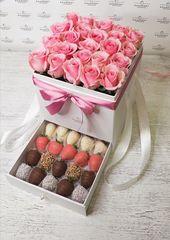 Шкатулка с розами и клубникой № 1