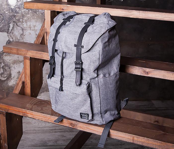 BAG404-3 Стильный мужской городской рюкзак из ткани серого цвета фото 02