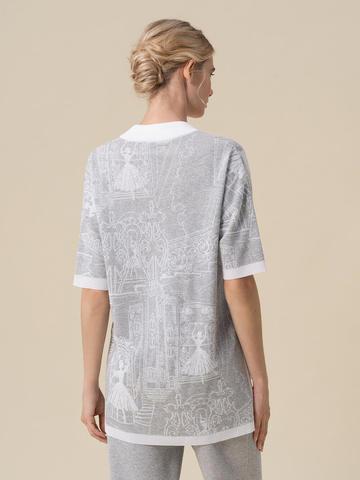 Женский джемпер серебряного цвета с принтом - фото 2