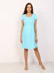 Мамаландия. Сорочка для беременных и кормящих с кнопками короткий рукав, звезды/голубой вид 1