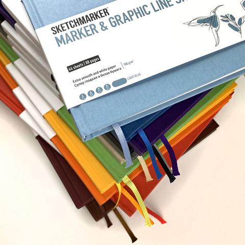 Скетчбук SKETCHMARKER MARKER & GRAPHIC LINE 180г/м.кв 176х250см 44л твердая обложка цв. голубой