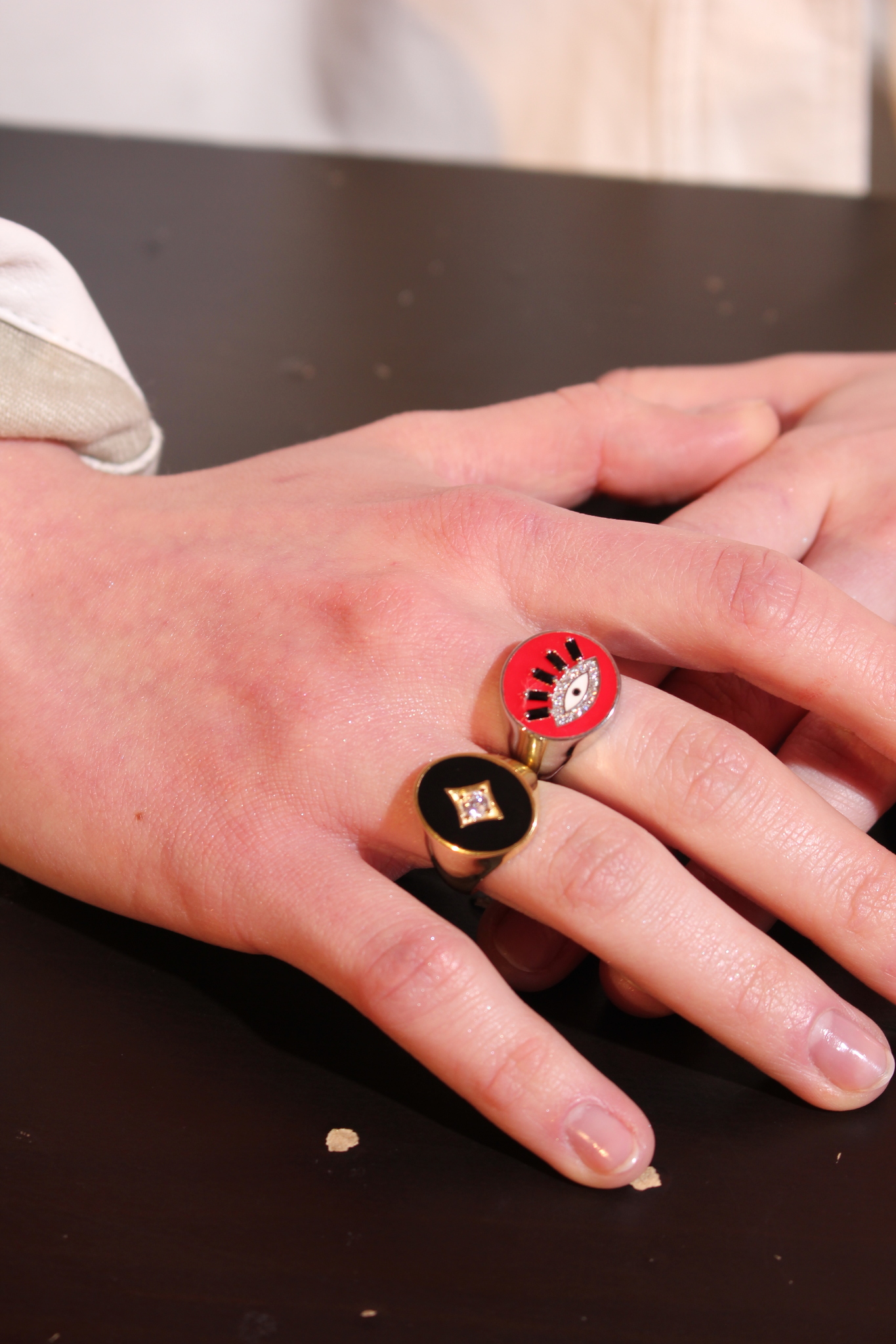 The Eye signet ring in silver with red enamel