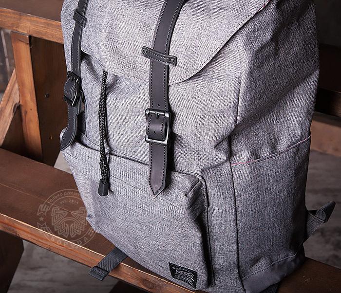 BAG404-3 Стильный мужской городской рюкзак из ткани серого цвета фото 03