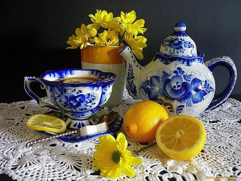 Алмазная Мозаика 40x50 Чаепитие с лимоном (арт. S2875)