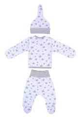 Mini Fox. Комплект для новорожденных 3 предмета, серые звезды